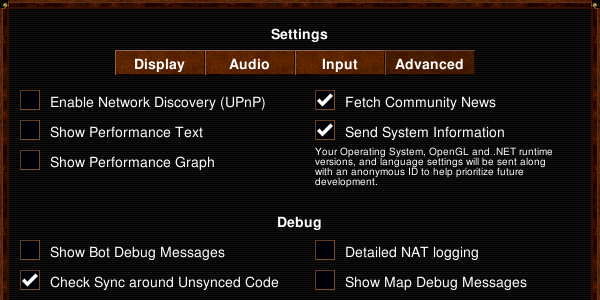 Advanced settings dialog